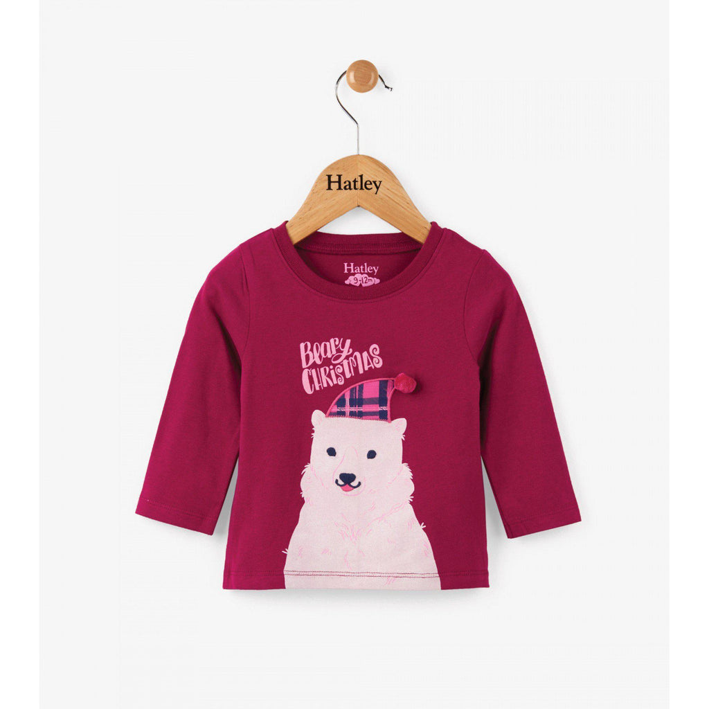 Hatley Polar Bear Holiday Long Sleeve Tee-Baby Girl Apparel - Tees-Hatley-3-6M-Eden Lifestyle