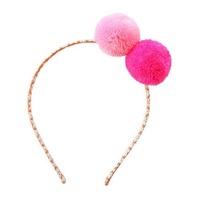 Two Pompom Headband-Accessories - Bows & Headbands-Everbloom-Pink-Eden Lifestyle