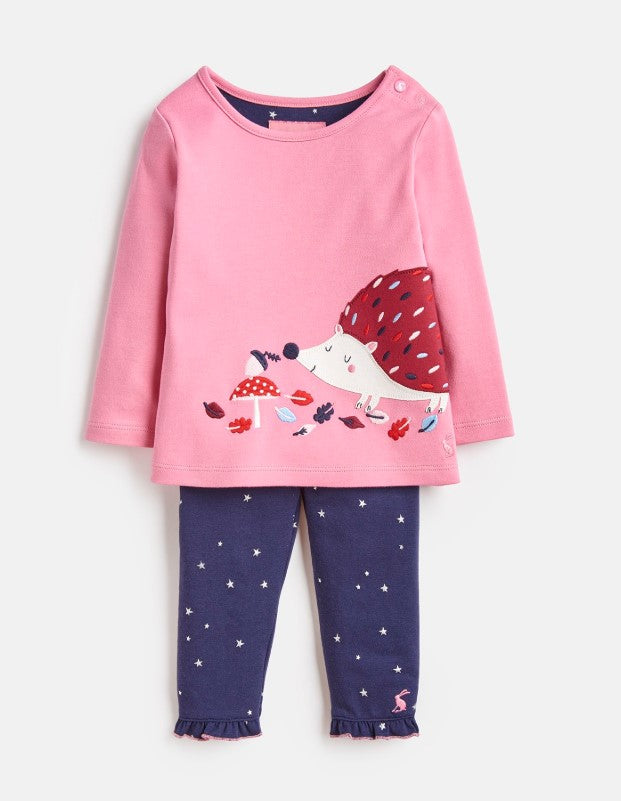 Joules, Baby Girl Apparel - Outfit Sets,  Joules Poppy Pink Hedgehog Applique Top & Pants Set