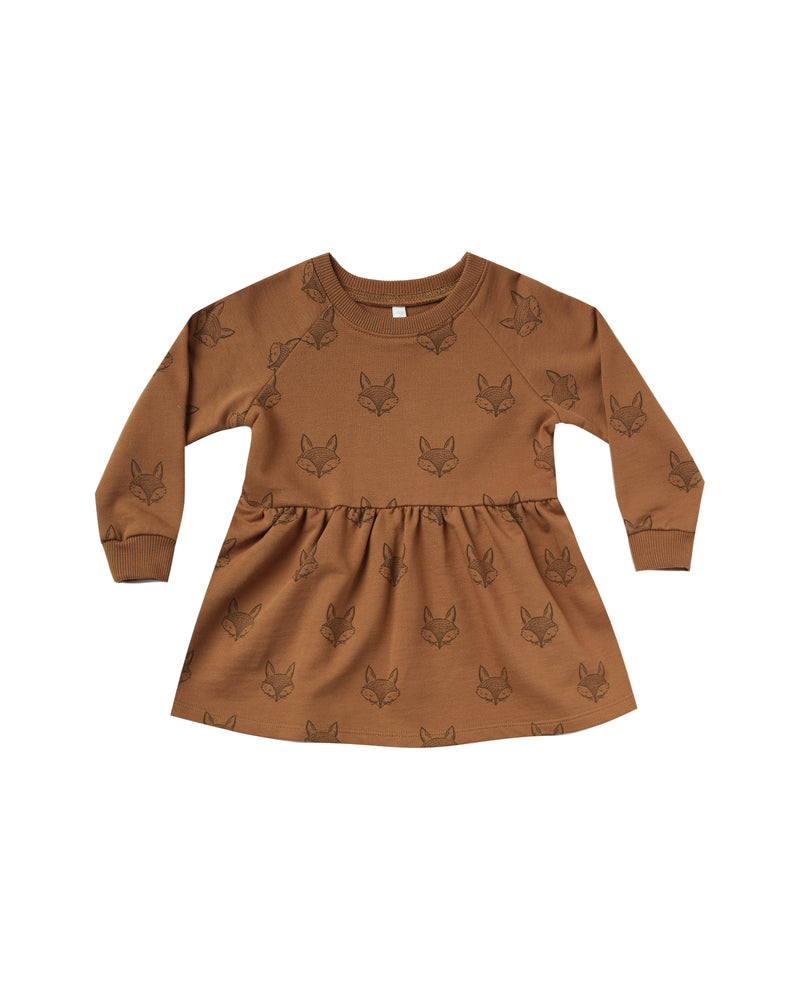 Rylee and Cru, Baby Girl Apparel - Dresses,  Rylee & Cru Fox Raglan Dress Cinnamon