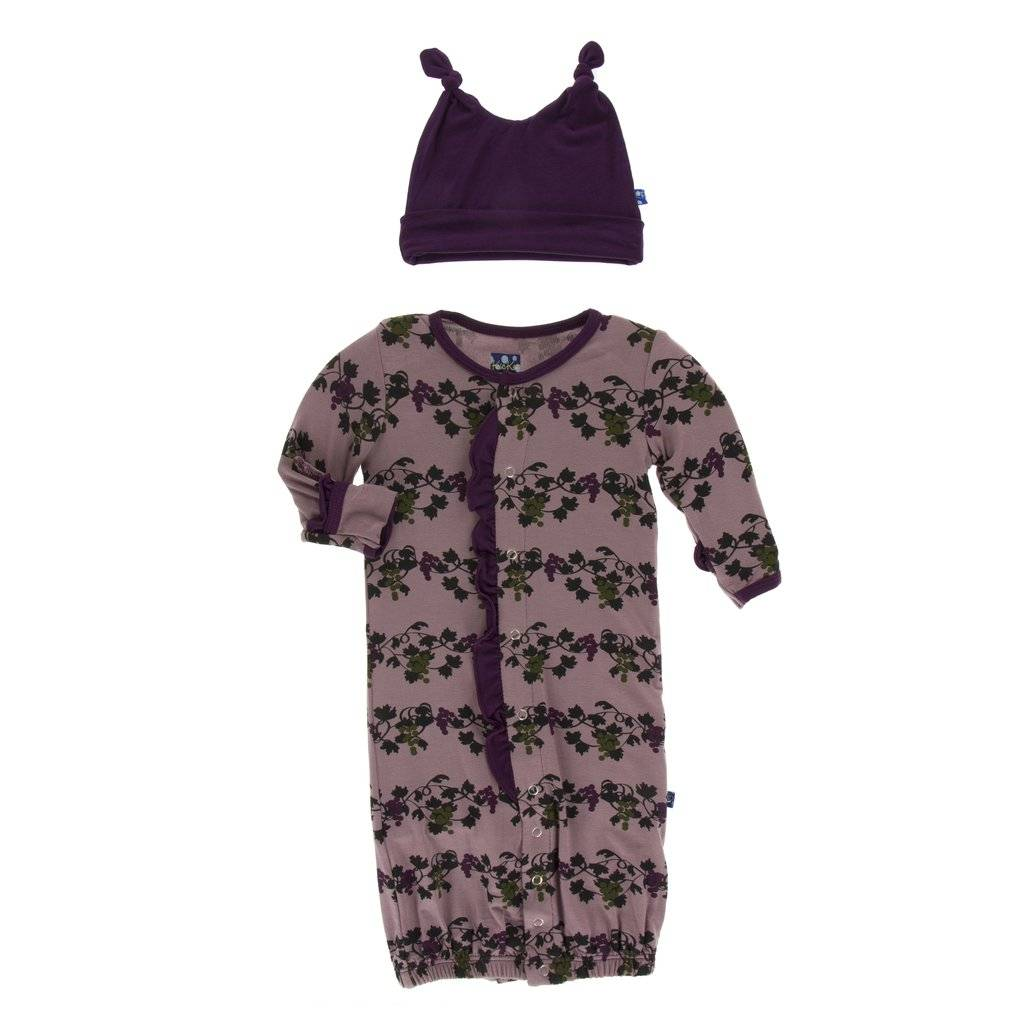 KicKee Pants - Layette Gown Converter & Knotted Hat -Raisin Grape Vines-Baby Girl Apparel - Pajamas-KicKee Pants-0-3M-Eden Lifestyle