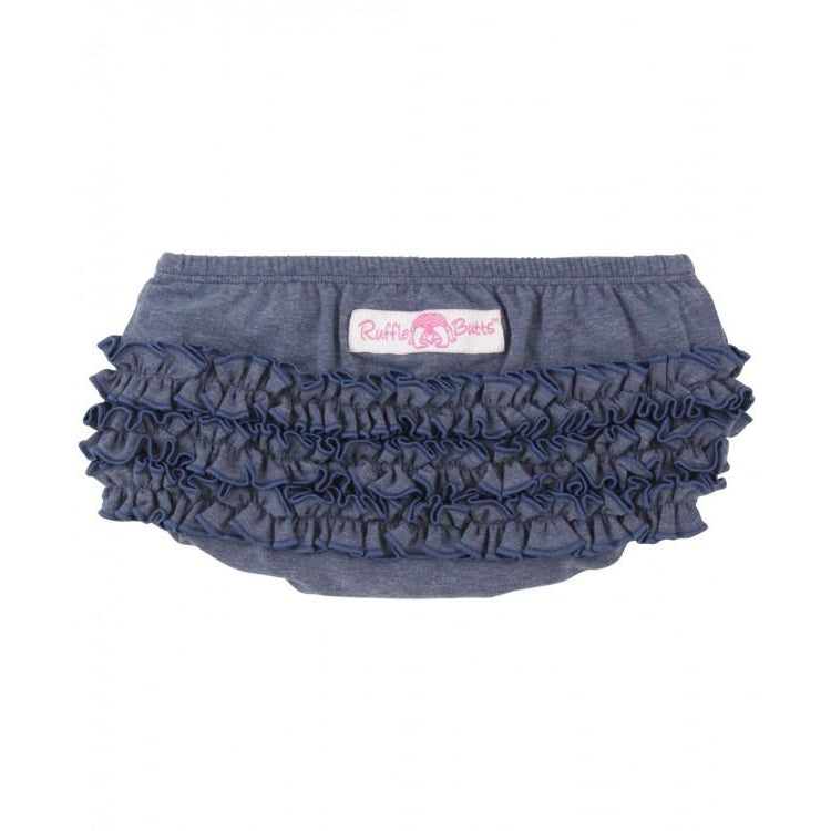 Faux Denim Knit RuffleButt-Baby Girl Apparel - Bloomers-Ruffle Butts-0-3M-Eden Lifestyle