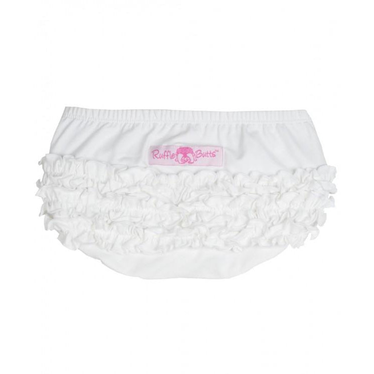 White Knit RuffleButt-Baby Girl Apparel - Bloomers-Ruffle Butts-6-12M-Eden Lifestyle