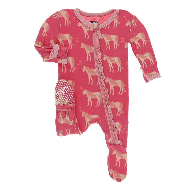KicKee Pants, Baby Girl Apparel - Pajamas,  Print Muffin Ruffle Footie with Zipper in Red Ginger Unicorns