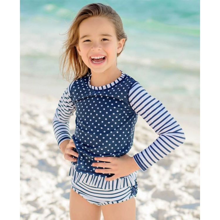 Ruffle Butts, Swimsuit,  Navy Striped Polka Long Sleeve Rash Guard Bikini