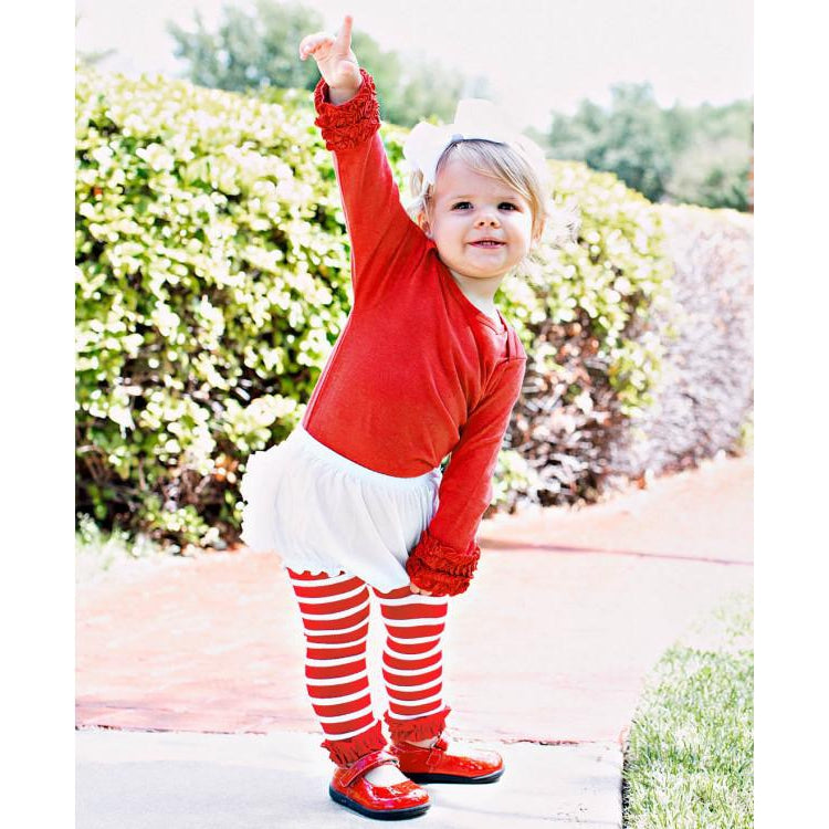 Red Stripe Footless Ruffle Tights