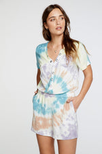 HEIRLOOM WOVENS SHORT SLEEVE BUTTON DOWN ROMPER IN TIE DYE