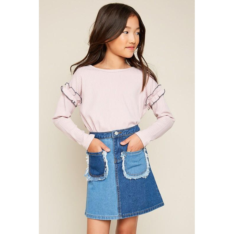 Ruffle Long Sleeve Top - Pink-Girl - Shirts & Tops-Hayden LA-7-Eden Lifestyle