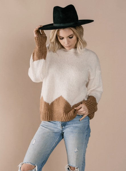 Rylee & Cru Aspen Sweater Ivory and Caramel