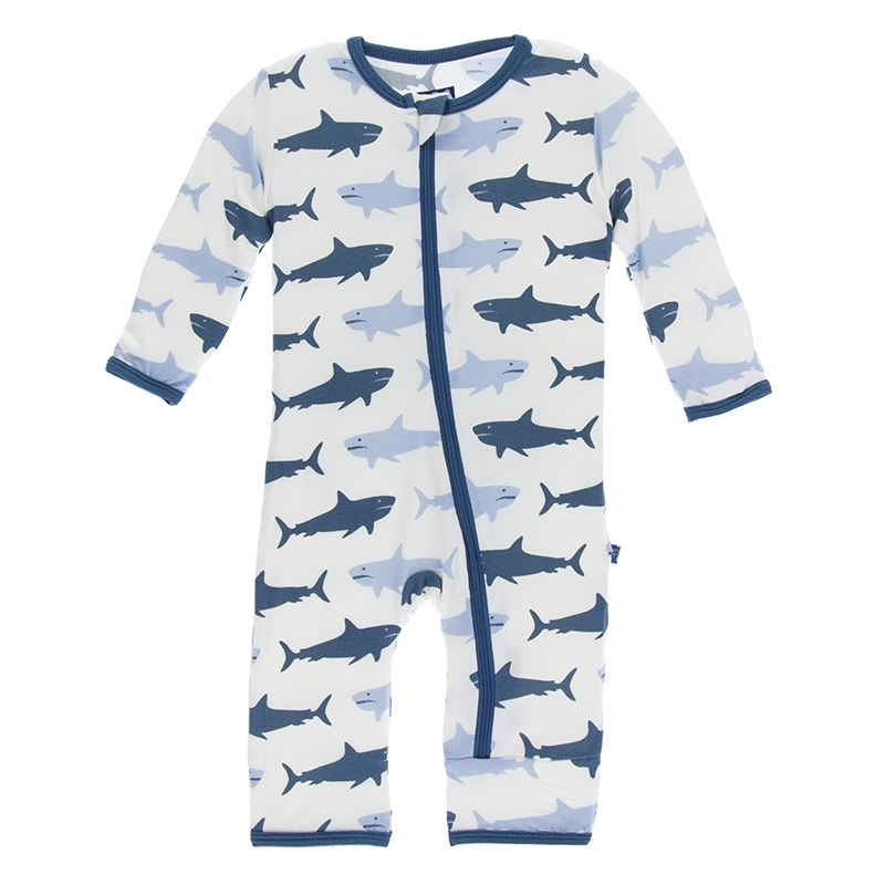 KicKee Pants - Coverall - Natural Megalodon-Baby Boy Apparel - Rompers-KicKee Pants-0-3M-Eden Lifestyle