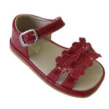 Toke, Shoes - Girl,  Genuine Leather Red Sandal with Flowers
