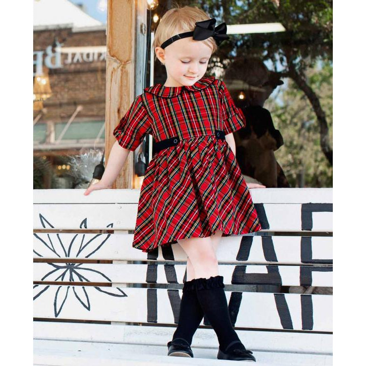 Tristan Plaid Peter Pan Babydoll Dress-Baby Girl Apparel - Dresses-Ruffle Butts-12-18M-Eden Lifestyle