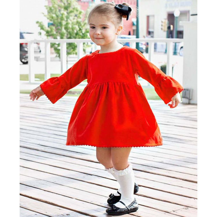 Red Velvet Belle Babydoll Dress-Girl - Dresses-Ruffle Butts-4-Eden Lifestyle
