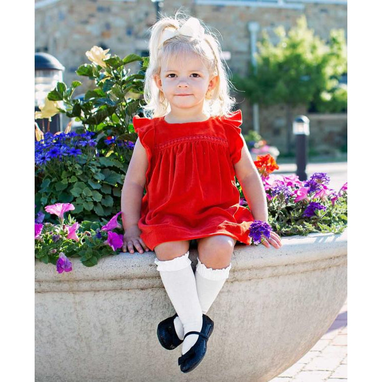 Red Velvet Jumper Dress-Baby Girl Apparel - Dresses-Ruffle Butts-18-24M-Eden Lifestyle