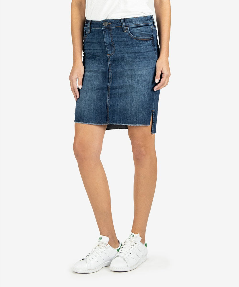 KUT from the Kloth, Women - Denim,  Connie Hi-Low Fray Skirt Affectionate Wash