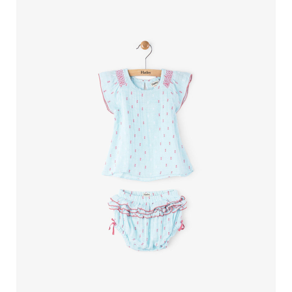 Hatley Smocked Chambray & Swiss Dots Mini Bloomer Set-Baby Girl Apparel - Dresses-Hatley-6-9M-Eden Lifestyle
