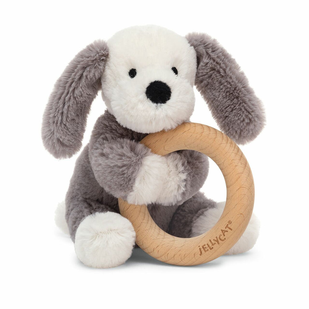 Jellycat Smudge Puppy Wooden Ring Rattle - Eden Lifestyle