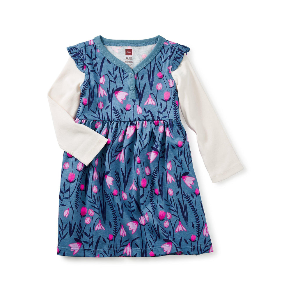 Snowdrop Baby Button Neck Dress-Baby Girl Apparel - Dresses-Tea Collection-6-9M-Eden Lifestyle