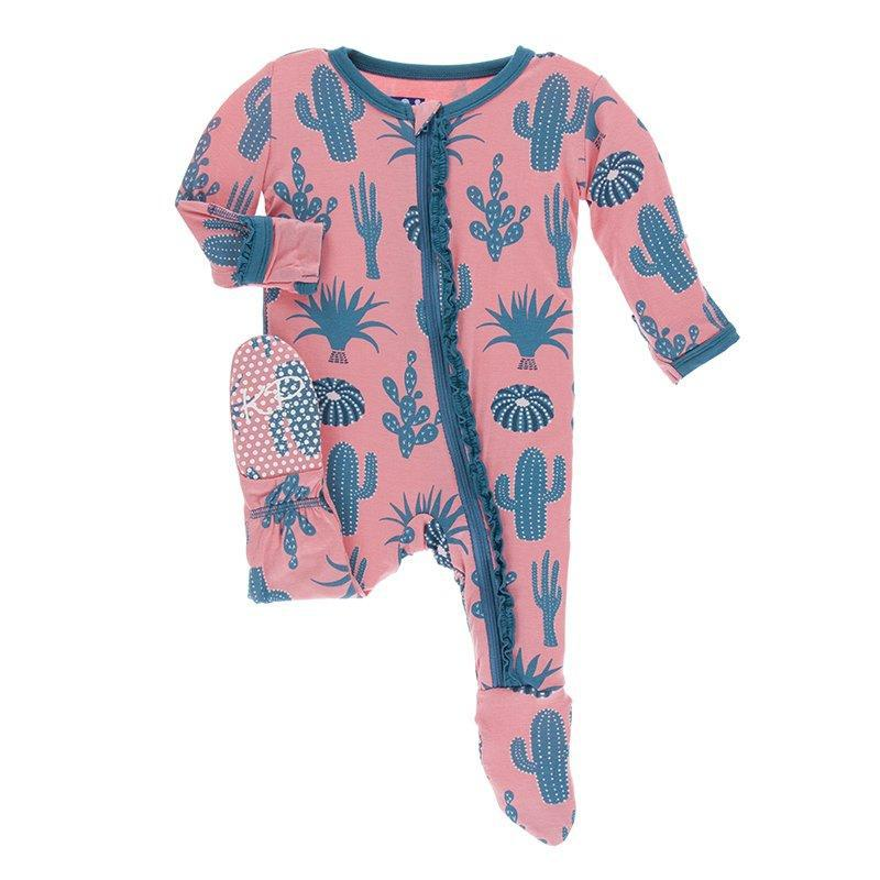 KicKee Pants - Muffin Ruffle Footie w/Zipper Strawberry Cactus-Baby Girl Apparel - One-Pieces-KicKee Pants-0-3M-Eden Lifestyle