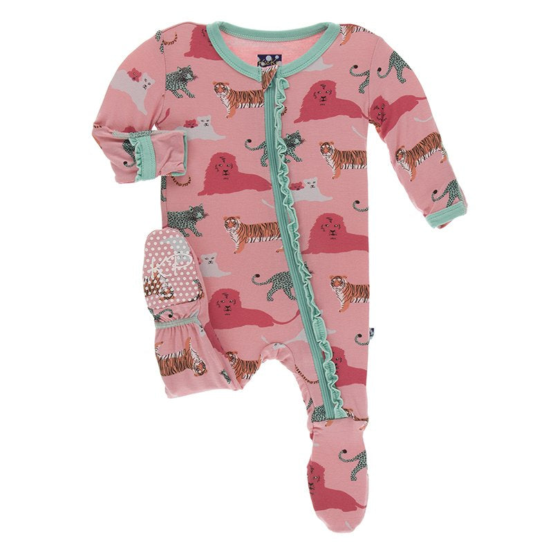 KicKee Pants, Baby Girl Apparel - Pajamas,  Kickee Pants Print Muffin Ruffle Footie with Zipper in Strawberry Big Cats