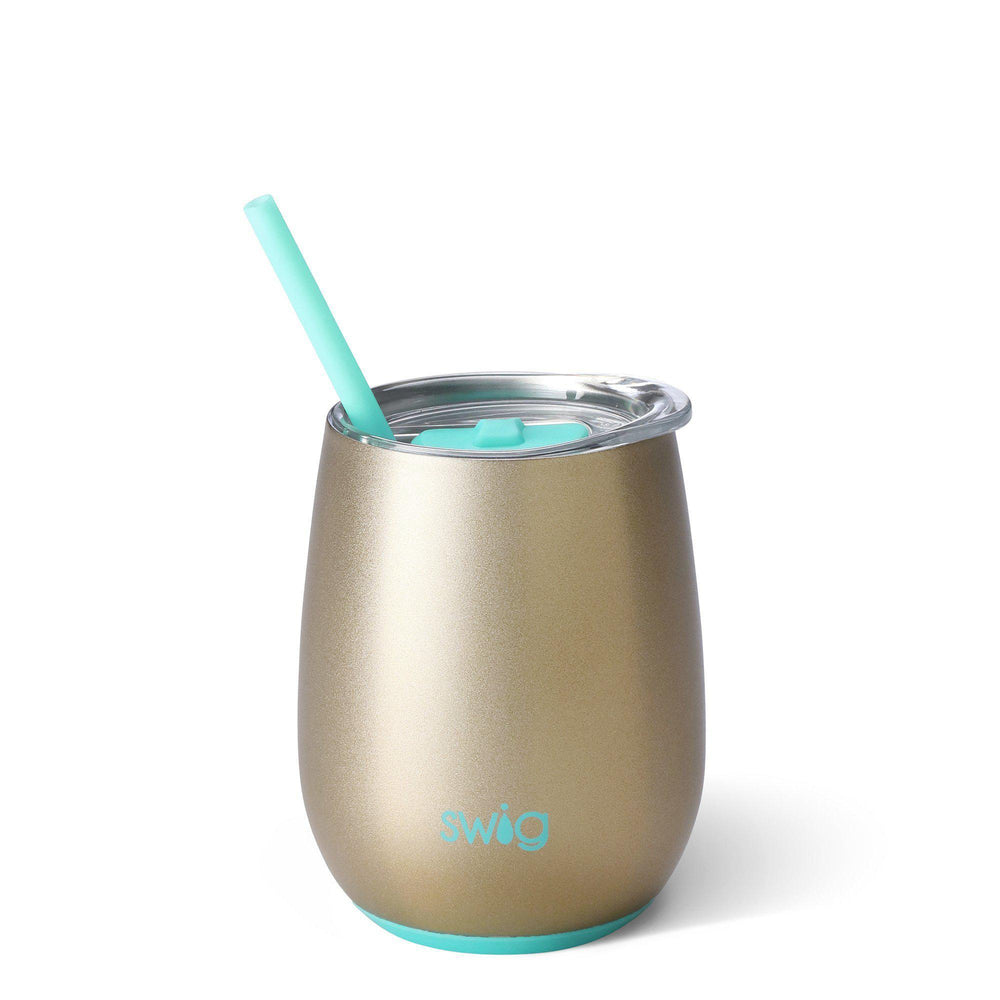 Swig 14oz Stemless Wine Cup w/ Straw-Home - Drinkware-Swig-Champagne-Eden Lifestyle