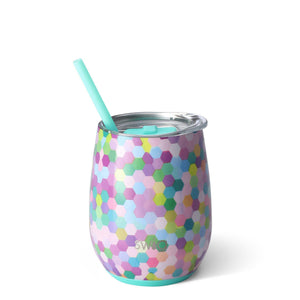 Swig 14oz Stemless Wine Cup w/ Straw-Home - Drinkware-Swig-Confetti-Eden Lifestyle