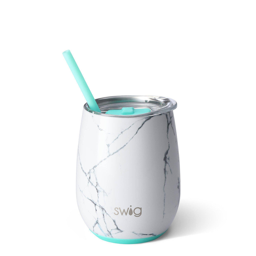 Swig 14oz Stemless Wine Cup w/ Straw-Home - Drinkware-Swig-Marble Slab-Eden Lifestyle