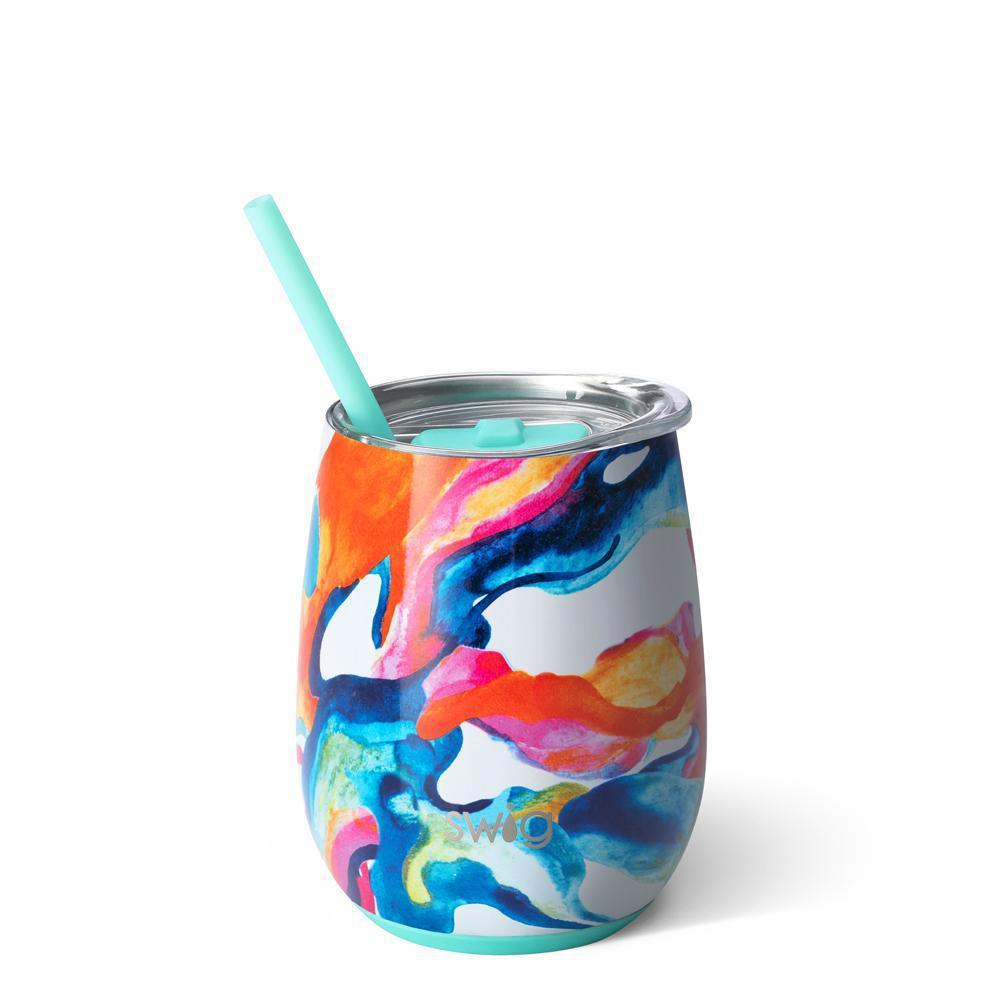 Swig 14oz Stemless Wine Cup w/ Straw-Home - Drinkware-Swig-Color Swirl-Eden Lifestyle