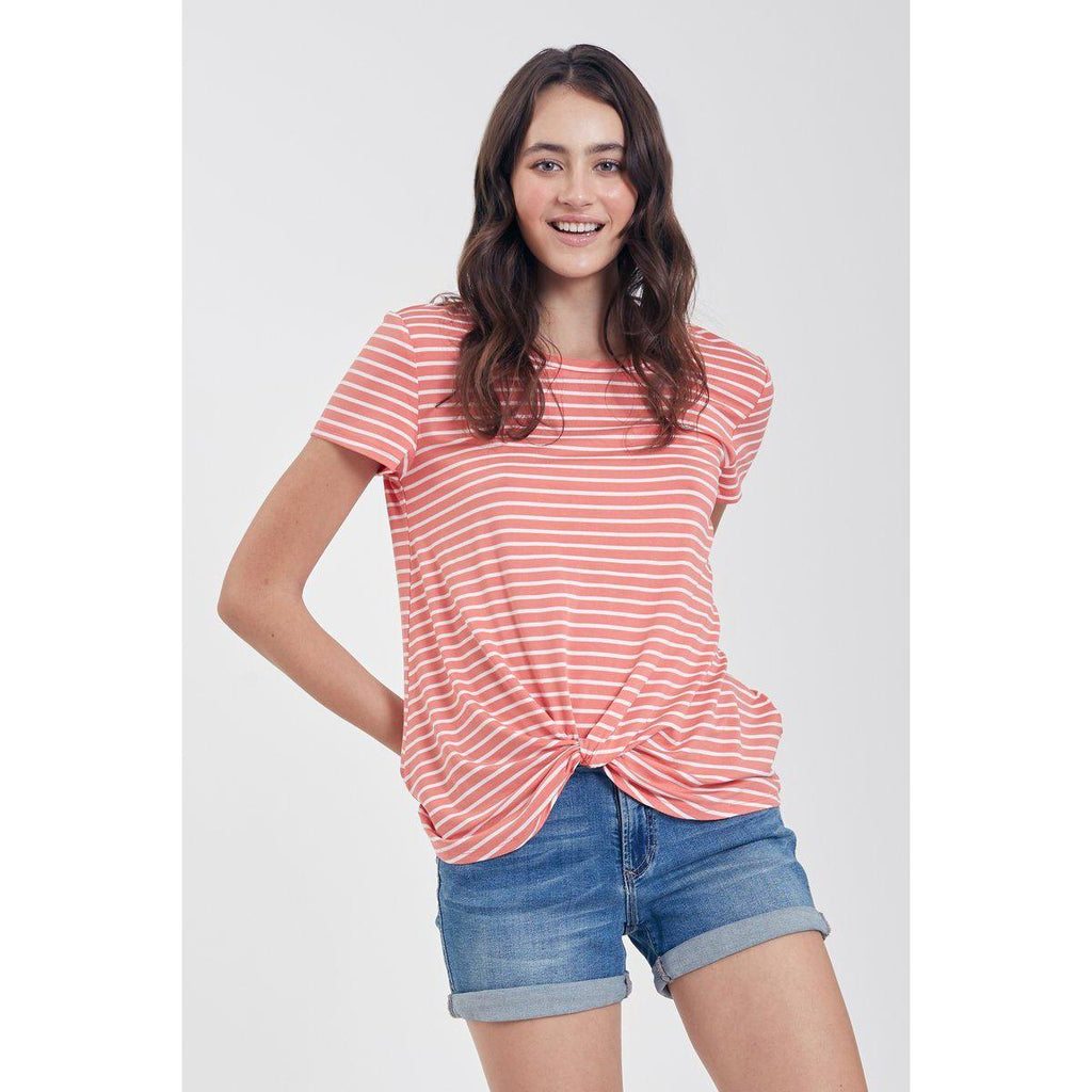 Julia Stripes Knot Tee-Women - Tees-Another Love-Tangerine-XSmall-Eden Lifestyle