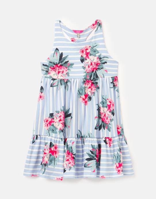 Joules - Juno Tiered Dress Blue Striped Floral