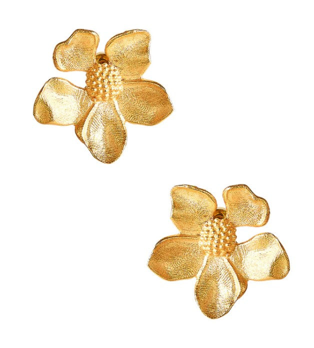 Tilly Brushed Gold Stud Earring