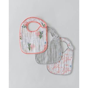 Cotton Muslin Classic Bib 3 Pack - Watercolor Rose