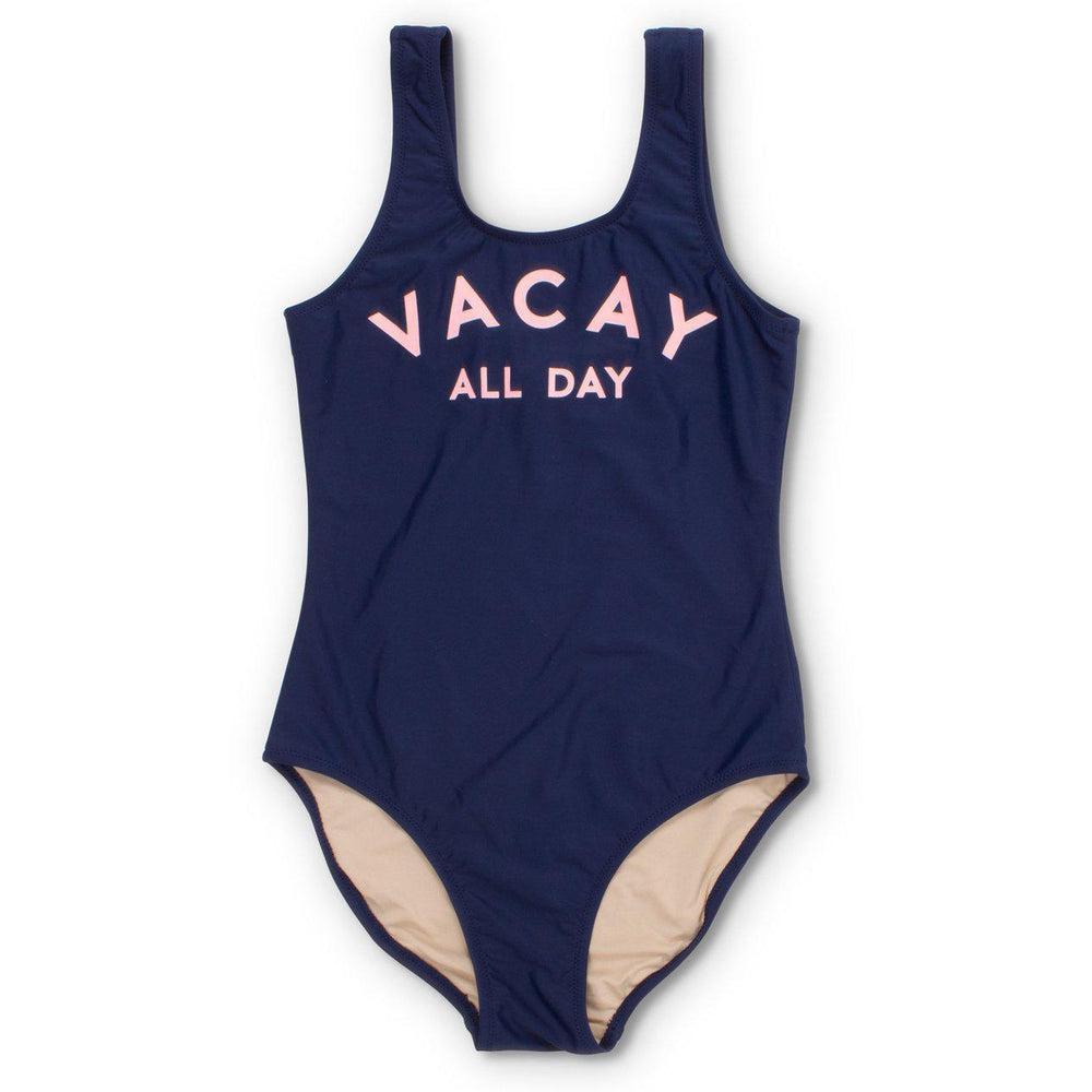 Shade Critters, Girl - Swimwear,  Navy Vacay All Day Scoop Swimsuit