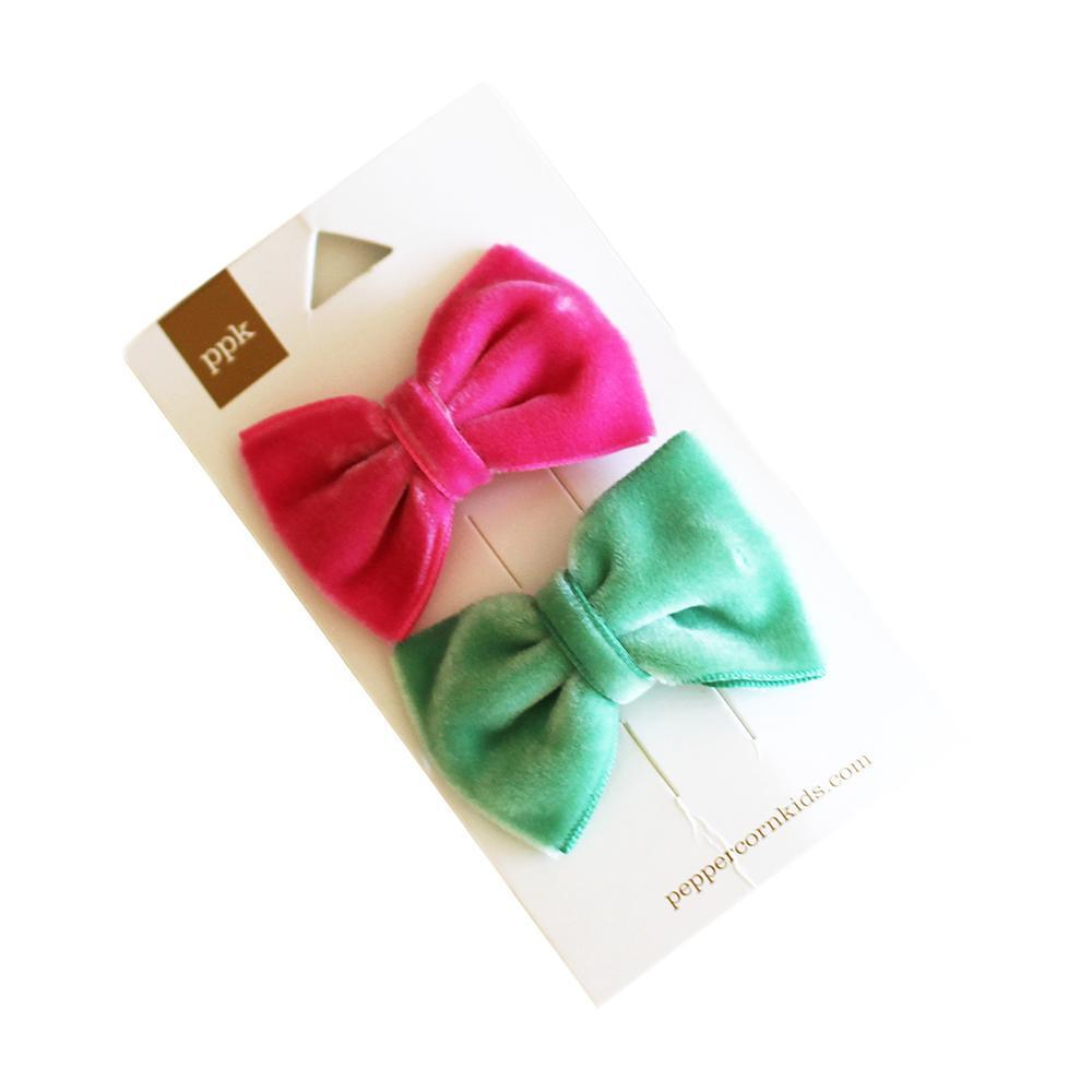 Velvet Bow Hair Clip Set-Accessories - Bows & Headbands-Eden Lifestyle-Red/Pink-Eden Lifestyle