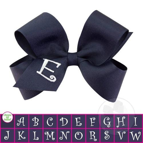 Wee Ones Monogram Bow-Accessories - Bows & Headbands-Wee Ones-Navy-A-Eden Lifestyle