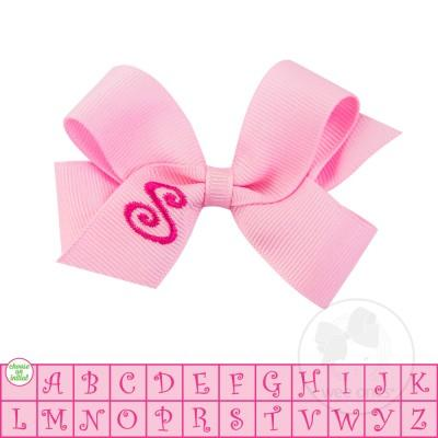 Wee Ones, Accessories, Eden Lifestyle, Wee Ones Monogram Bow - Light Pink with Hot Pink