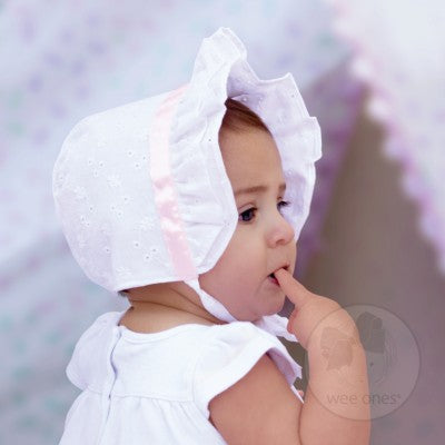 Baby Girls Satin Trim Eyelet Bonnet-Accessories - Hats-Wee Ones-3-6M-Eden Lifestyle