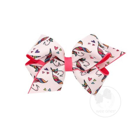 Wee Ones, Accessories - Bows & Headbands,  Wee Ones - Medium Unicorn Print Bow