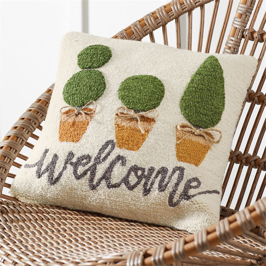 Mud Pie - TOPIARY HOOKED PILLOW