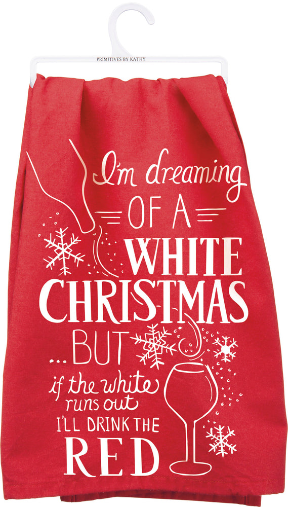White Christmas Dish Towel
