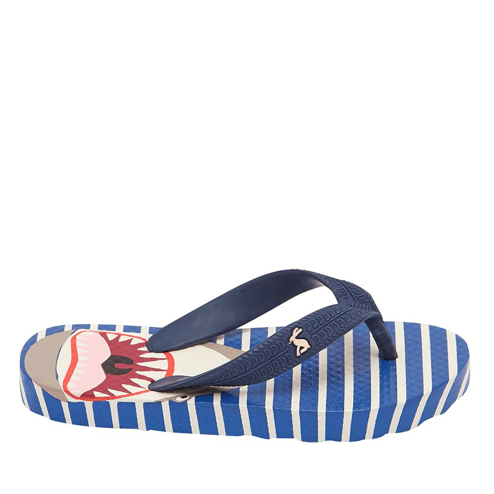 Joules Printed Flip Flops - Blue Shark Stripe-Shoes - Boy-Joules-9-Eden Lifestyle