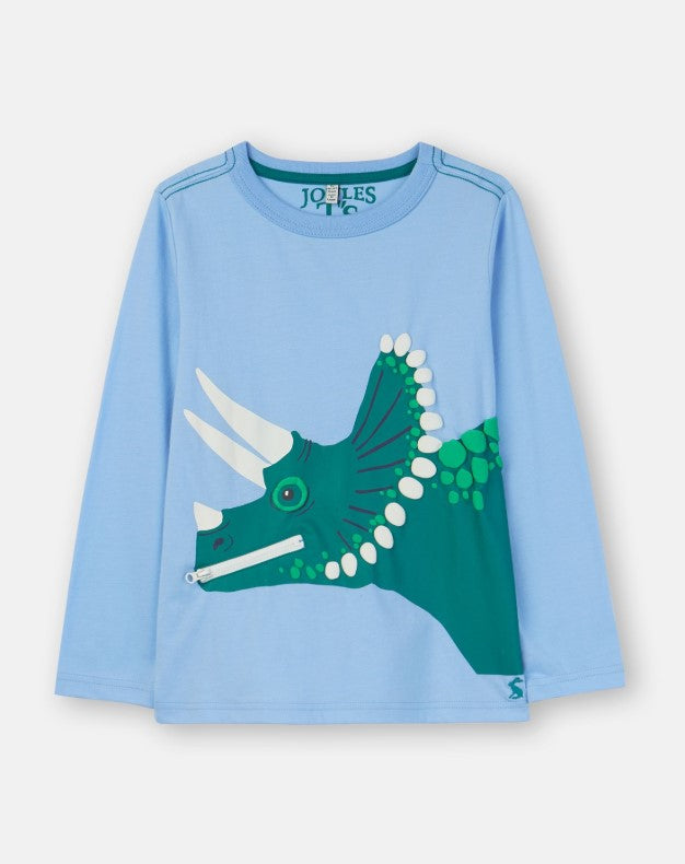 Joules Zipadee Blue Dino Applique Shirt