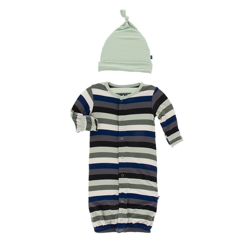 KicKee Pants, Baby Boy Apparel - Pajamas,  Kickee Pants Print Layette Gown Converter & Knot Hat Set in Zoology Stripe