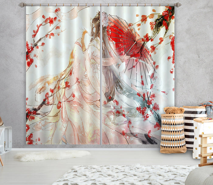 3D Ancient Umbrella 337 Anime Curtains Drapes