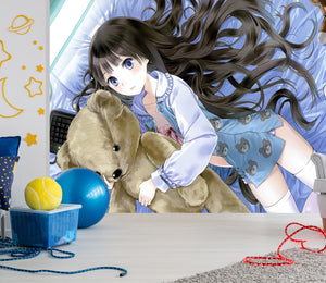 3D Bed Bear Girl 192 Wallpaper