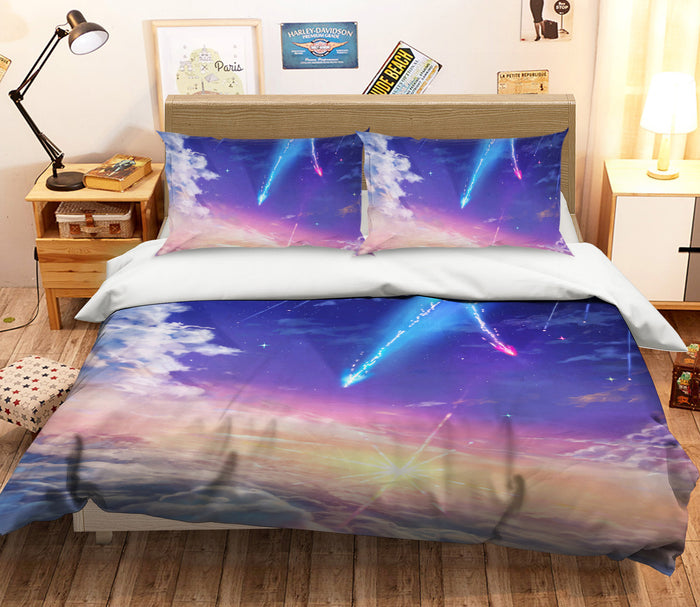 3D Your Name 702 Anime Bed Pillowcases Duvet Cover Quilt Cover