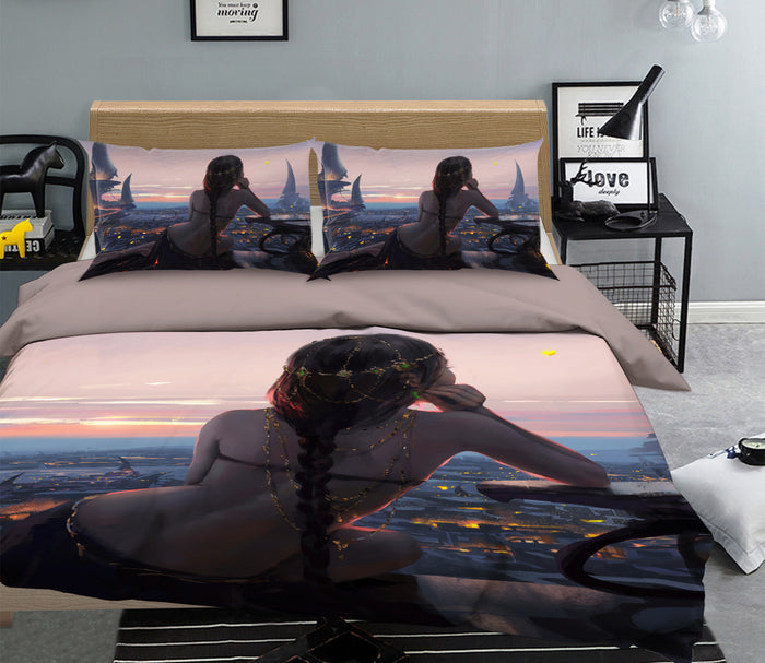 3D Woman Back View 102 Anime Bed Pillowcases Duvet Cover Quilt Cover