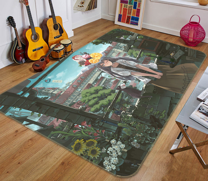 3D Fruit Ice Cream Girl 1389 Anime Non Slip Rug Mat