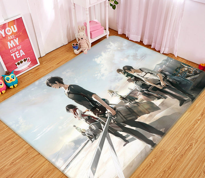 3D Attack On Titan 1803 Anime Non Slip Rug Mat