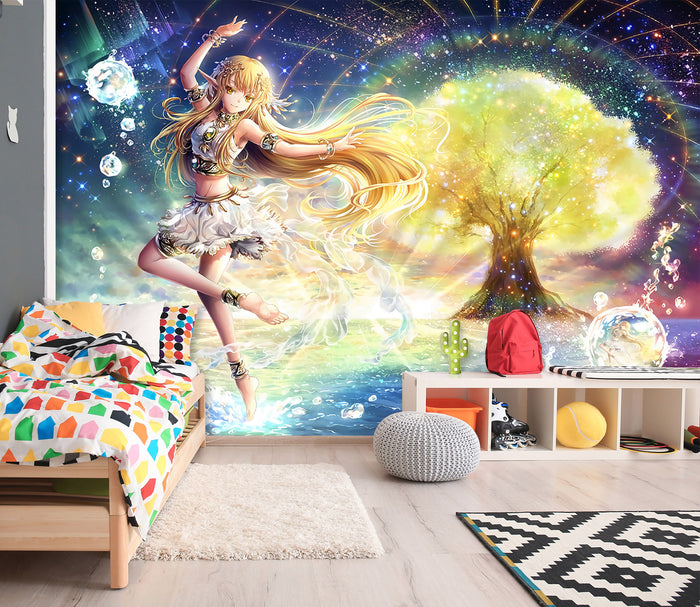 3D Golden Tree Magic Girl 196 Wallpaper